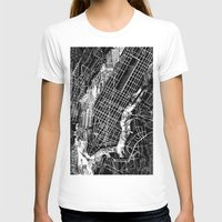 new york map T-shirts featuring New York map by Bekim ART