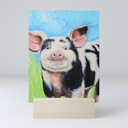 Happy Pig Painting Mini Art Print