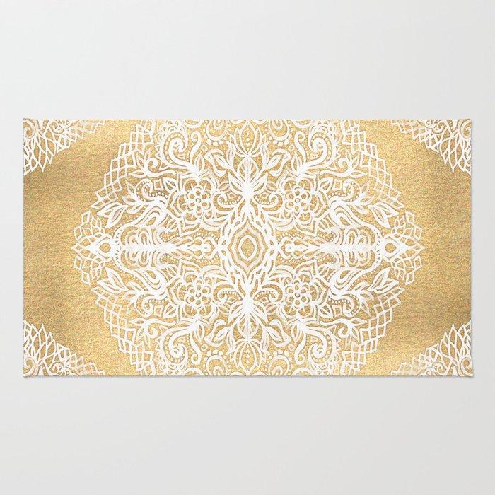 White Gouache Doodle on Gold Paint Rug