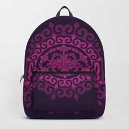 Pink Mandala on Dark Purple Backpack