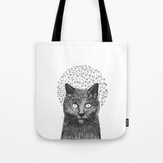 Dandelion black cat Tote Bag