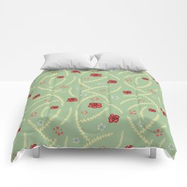 Soft Floral Pattern - Green, Cream, Red and Blue Comforters
