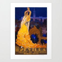 Spain 1933 Seville April Fair Travel Poster Art Print
