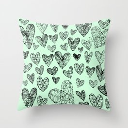 Wire Hearts in Mint Throw Pillow