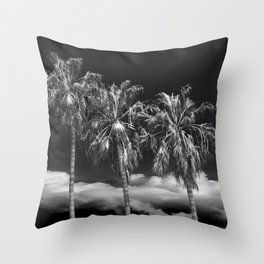 Palm Trees in Black and White on Cabrillo Beach Throw Pillow