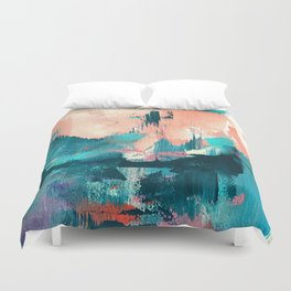 Sugar: a fun, minimal mixed-media abstract piece in pinks and blues Duvet Cover