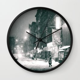 New York City - Night in the Winter - Lower East Side Wall Clock