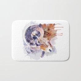Bighorn Sheep watercolor portrait Bath Mat