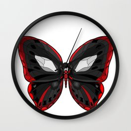 Butterfly - Crazy Killer Red and Black Wings Wall Clock