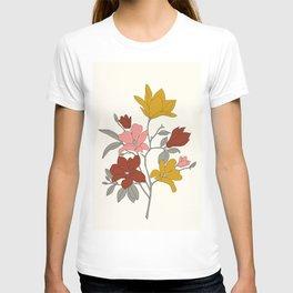 Colorful Minimal Line Art Magnolia T-shirt