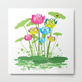 Colorful waterlily flowers Metal Print