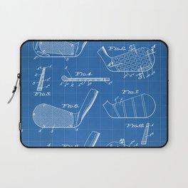 Golf Clubs Patent - Golfing Art - Blueprint Laptop Sleeve