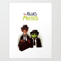 muppets Art Prints featuring The Blues Muppets by carbonatedink
