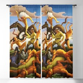Classical Masterpiece 'Little Big Horn - Custer's Last Stand' by Thomas Hart Benton Blackout Curtain