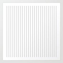 White Black Pinstripes Minimalist Art Print