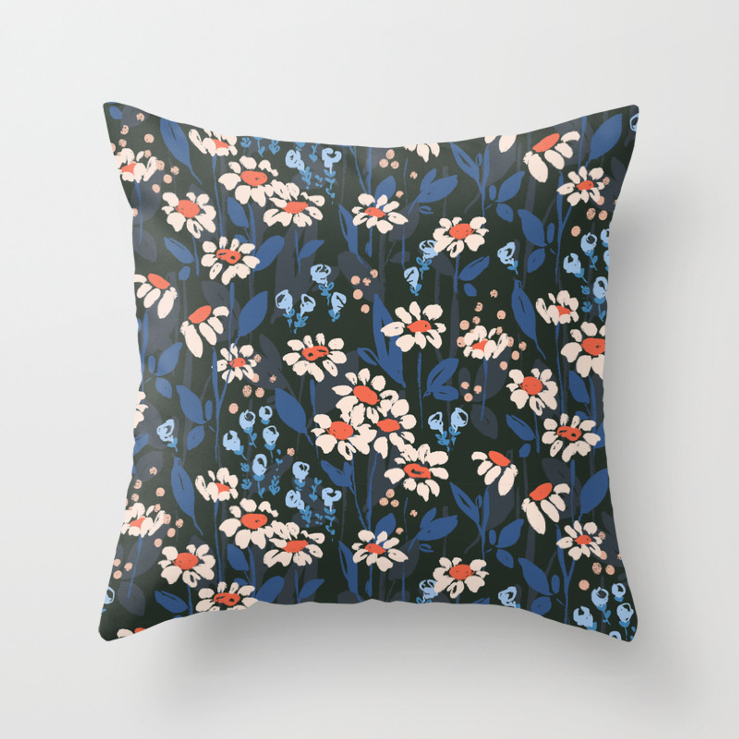 Daisy Chain Floral Pattern Throw Pillow By Lisa Glanz Society6