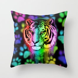 Tiger Neon Dripping Rainbow Colors Throw Pillow