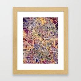 London England Street Map Framed Art Print