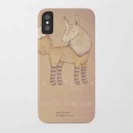 Christmas creatures- Fox with long socks iPhone Case