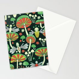 glowing fireflies and fungi at night Stationery Cards