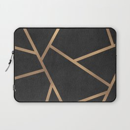 Dark Grey and Gold Textured Fragments - Geometric Design Laptop Sleeve