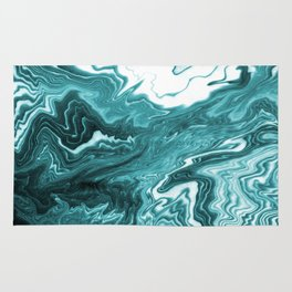 Yumiko - spilled ink painting abstract minimal ocean wave water sea monochromatic trendy hipster art Rug