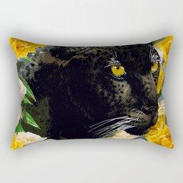 BLACK PANTHER AND YELLOW ROSES Rectangular Pillow