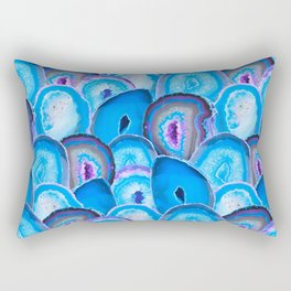 Geode Slices No. 2 in Electric Bubblegum Blue Rectangular Pillow