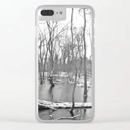 Snow fallen on a forest pond, black and white Clear iPhone Case