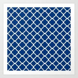 Royal Blue Quatrefoil Art Print
