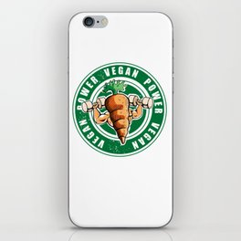Vegan Power Workout Muscle Carrot Gym Work iPhone Skin