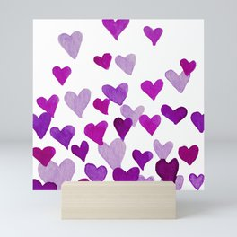Valentine's Day Watercolor Hearts - purple Mini Art Print