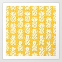 Mid Century Modern Pineapple Pattern Yellow 4 Art Print