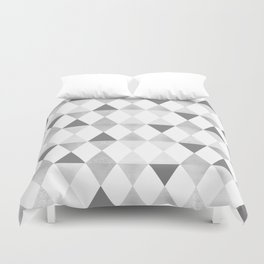 GRAPHIC PATTERN Funky geometric triangles | lightgrey & silver Duvet Cover