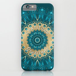 Gratitude Mandala | Teal Gold Mandala Affirmation | Inspirational Energy Art iPhone Case