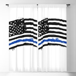 Thin blue line US flag. Flag with Police Blue Line - Distressed american flag. Blackout Curtain