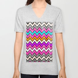 Andes Tribal Aztec Pink chevron Ikat wood pattern Unisex V-Neck