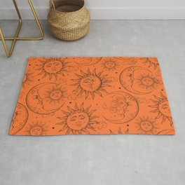 Orange Magic Celestial Sun Moon Stars Rug