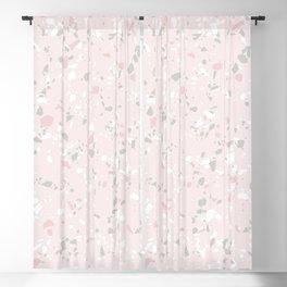 Mid Century Pastel Terrazzo Pattern - Pink & Grey Blackout Curtain