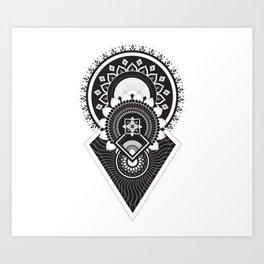 Mandala of the sun, moon and stars. Art Print