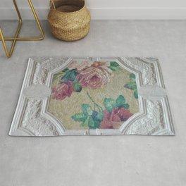 Antique Ceiling Tile * Art tile * Victorian Roses Rug