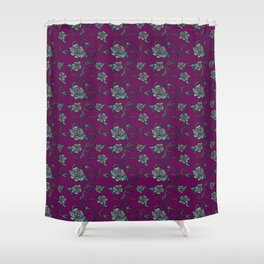 Barbed Roses - Grey on Purple Shower Curtain