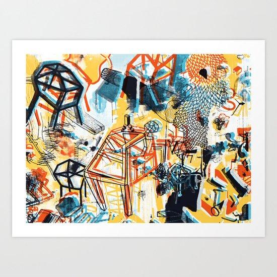 yellowredblueandblack Art Print