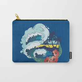 Retro design of beach, palm trees and sea waves Carry-All Pouch