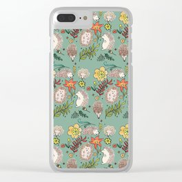 Hedgehogs Field in Green Clear iPhone Case