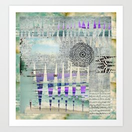 Blue Grey Abstract Art Collage Art Print