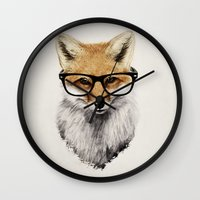 mr fox Wall Clocks featuring Mr. Fox by Isaiah K. Stephens