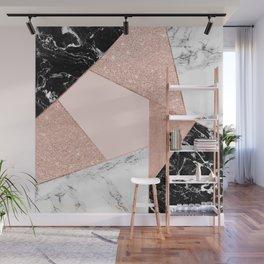 Modern rose gold glitter black white marble geometric color block Wall Mural