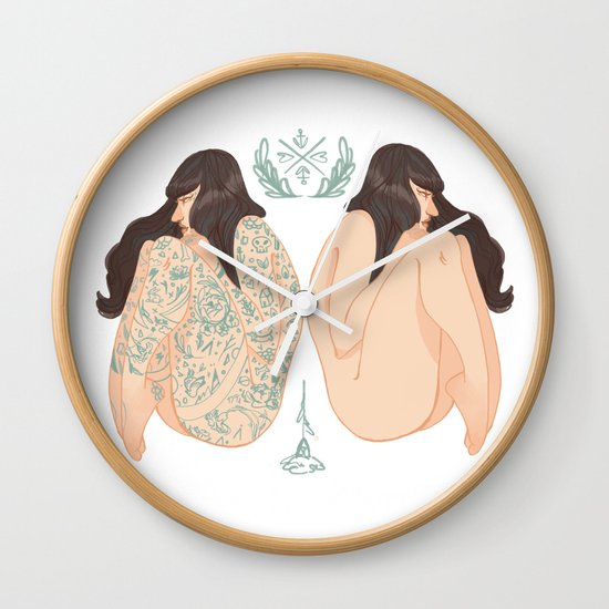 Tattoo vs No Tattoo = Equally beautiful  Wall Clock