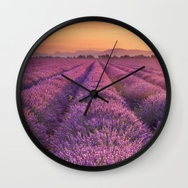 I - Sunrise over blooming fields of lavender in the Provence, France Wall Clock